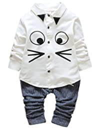 Aivtalk Baby Boys' Soft and Comfortable Gentleman Clothing Sets Animal Face Mouse Print Shirt Striped Pant for 2-3 Years Old
