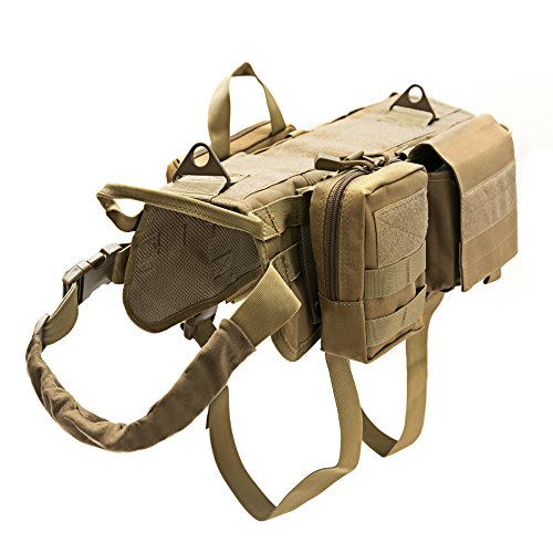 Petvins Tactical Dog Molle Vest Harness K9 Adjustable Outdoor Training Service Camouflage Harness with 3 Detachable Pouches Brown Size L ()