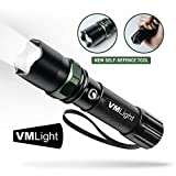 VMLight Emergency USB Rechargeable LED Tactical Flashlight Waterproof with Adjustable Focus - Travel - 1x18650 Battery - 3 Mode High/Low/Strobe - Keep In Your Car For Emergencies