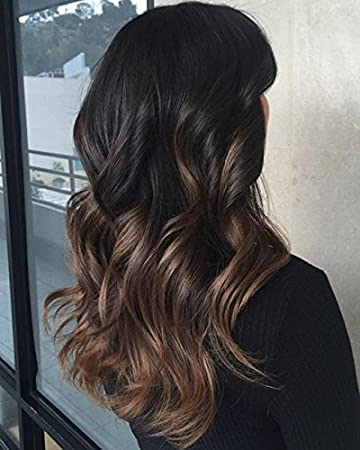 Ugeat Hair Extensions U Tip Human Hair Brown Balayage Ombre Hair 18inch 50g  50strands U Tip Fusion