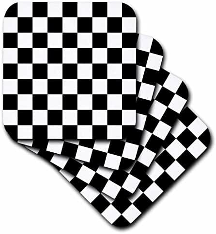 3dRose cst_154527_2 Check Black and White Pattern Checkered Checked Squares Chess Checkerboard Or Racing Car Race Flag Soft Coasters, Set of 8