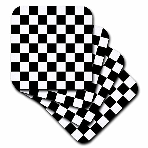 3dRose cst_154527_2 Check Black and White Pattern Checkered Checked Squares Chess Checkerboard Or Racing Car Race Flag Soft Coasters, Set of (Checkerboard Flag)