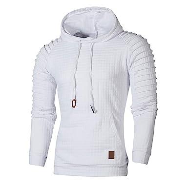 Yvelands Sudadera para Hombre con Capucha, Camiseta de Manga Larga con Cuadros para Hombres Top Outwear Blusa: Amazon.es: Ropa y accesorios