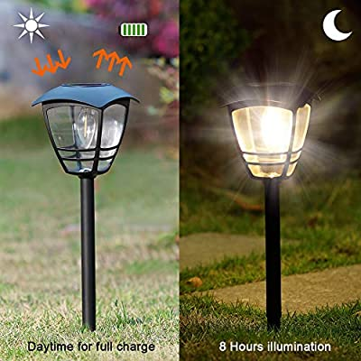 Maggift Vintage Solar Pathway Lights LED Bulbs Solar Powered Garden Walkway Lights for Outdoor Lawn, Patio, Yard, Walkway, Driveway (4 Pack, 10 Lumen)