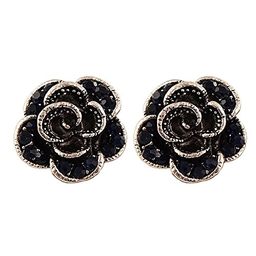 Silver Plated Flower Blooming Rose Petal Blue Crystal Push Back Women Fashion Earrings Studs (Navy Blue)