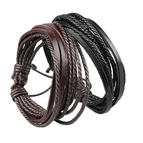 - Coolla Adjustable Black & Brown Leather Wristband and Rope Cuff Bracelet, 18cm, 2-Pack