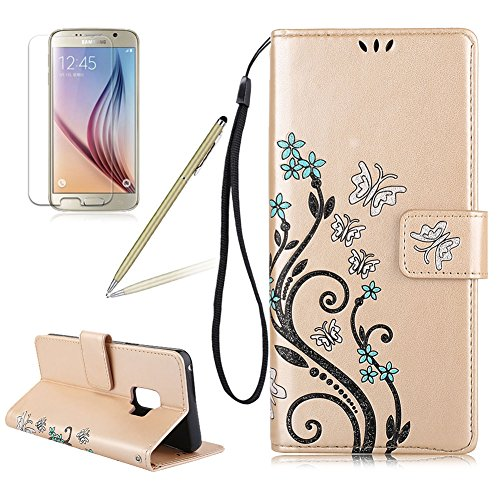 Embossing Butterfly Design PU Leather Case For Samsung Galaxy S9 Plus, Girlyard Embossed Flower Vine Folio Flip Stylish Wallet Case Cover with Magnetic Snap Support Card Slot and Stand, Gold ()