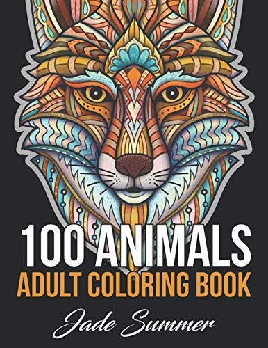 100 Animals: An Adult Coloring Book with Lions,