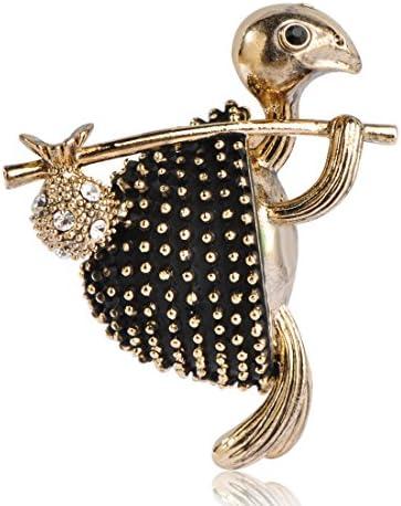 面白い 亀は荷物を担いでいる クリスタル 18k ゴールドメッキ 動物 亀のブローチ ネクタイ ピン コサージュ スーツ お盆