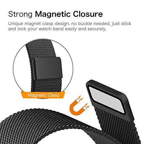 Gear S2 Watch Band [Large], Fintie [Magnet Lock] Milanese Loop Adjustable Stainless Steel Replacement Strap Bands for Samsung Gear S2 SM-R720 / SM-R730 Smart Watch - Black by Fintie (Image #5)