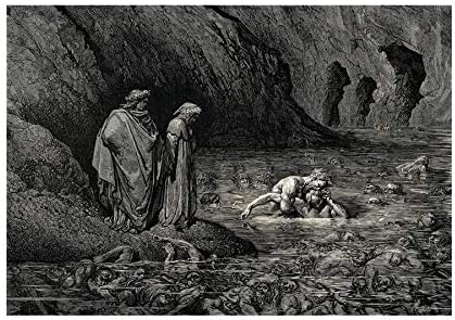 DORE INFERNO CANTO 32 DANTE OLD MASTER BLACK FRAMED ART PRINT PICTURE B12X308