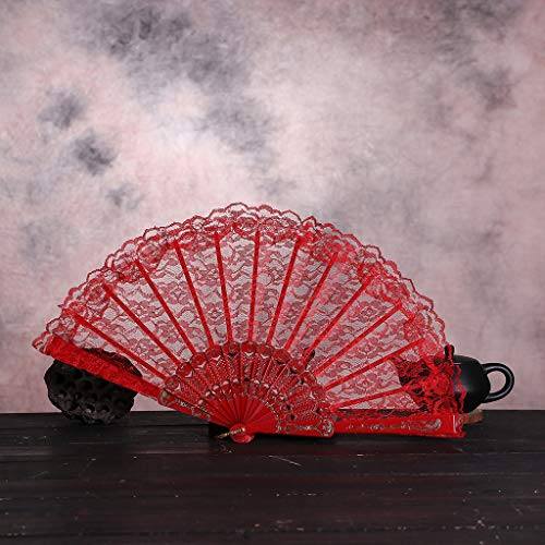 (JJLIKER Chinese Style Dance Wedding Party Lace Silk Folding Hand Held Handmade Oriental Vintage Retro Style Fans )