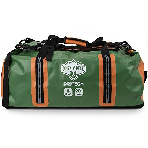Grizzly Peak Dri-Tech Waterproof Dry Duffle Bag, IP 65 Lightweight Roll-Top Dry Bag with Backpacking Shoulder Straps & 4 Extra Pockets - Protects Personal Belongings ()