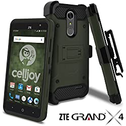 ZTE Grand X4 Case, ZTE Grand X 4 Case, Celljoy [Carbon Stealth Armor] Dual Layer Protective [[Shockproof]] Hybrid {Reinforced Bumper} Kickstand [Locking Swivel Belt Clip Holster Combo] (Army Green)