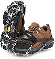 Vensoon Traction Ice Cleats - Ice Grips for Shoes 19 Spikes Crampons for Boots Running Shoes Walking On Ice Snow Easy Slip O