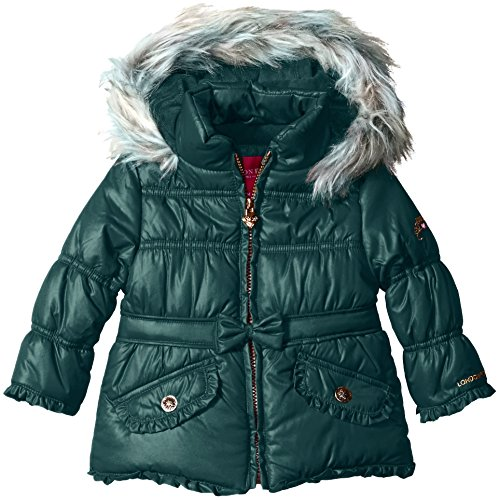 london-fog-baby-girls-bow-belt-jewel-tone-heavyweight-jacket-hunter-green-18-months