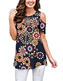 Women's Summer Floral Cold Shoulder Tunic Shirts Casual Short Sleeve Loose Blouses Shirts (Navy Pink, XXL)