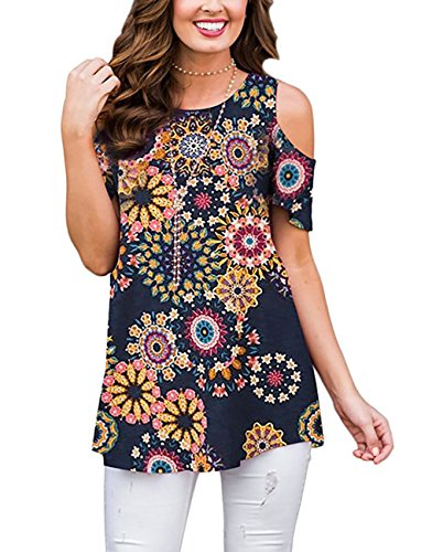Womens Floral Print Cold Shoulder Swing Tunic Tops Casual Loose Short Sleeve Blouse Shirts (Navy Pink, M) (Blouse Top Shirt Pink)
