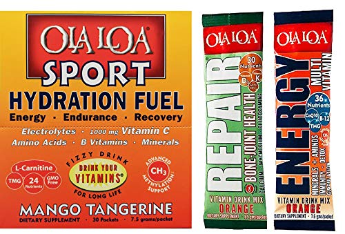 Ola Loa Sport Hydration Fuel, Energy, Endurance, Recovery, Mango Tangerine Electrolytes, 30 Packets, Vitamin Drink Mix with 2 Free Sample Packets