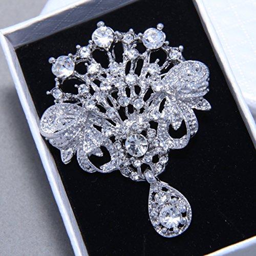 Rhinestone Wedding Brooch,Dangle Brooch, Crystal Brooch, Wedding Necklace Pendant, Hair Supplies,Bridesmaid Sash Craft - Nothing at back