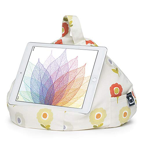 iPad Pillow & Tablet Stand - Securely Holds Any Size Tablet, eReader or Book Upto 12.9 inches, Hands Free Comfort at Any Angle on Any Surface - Flower, by iBeani