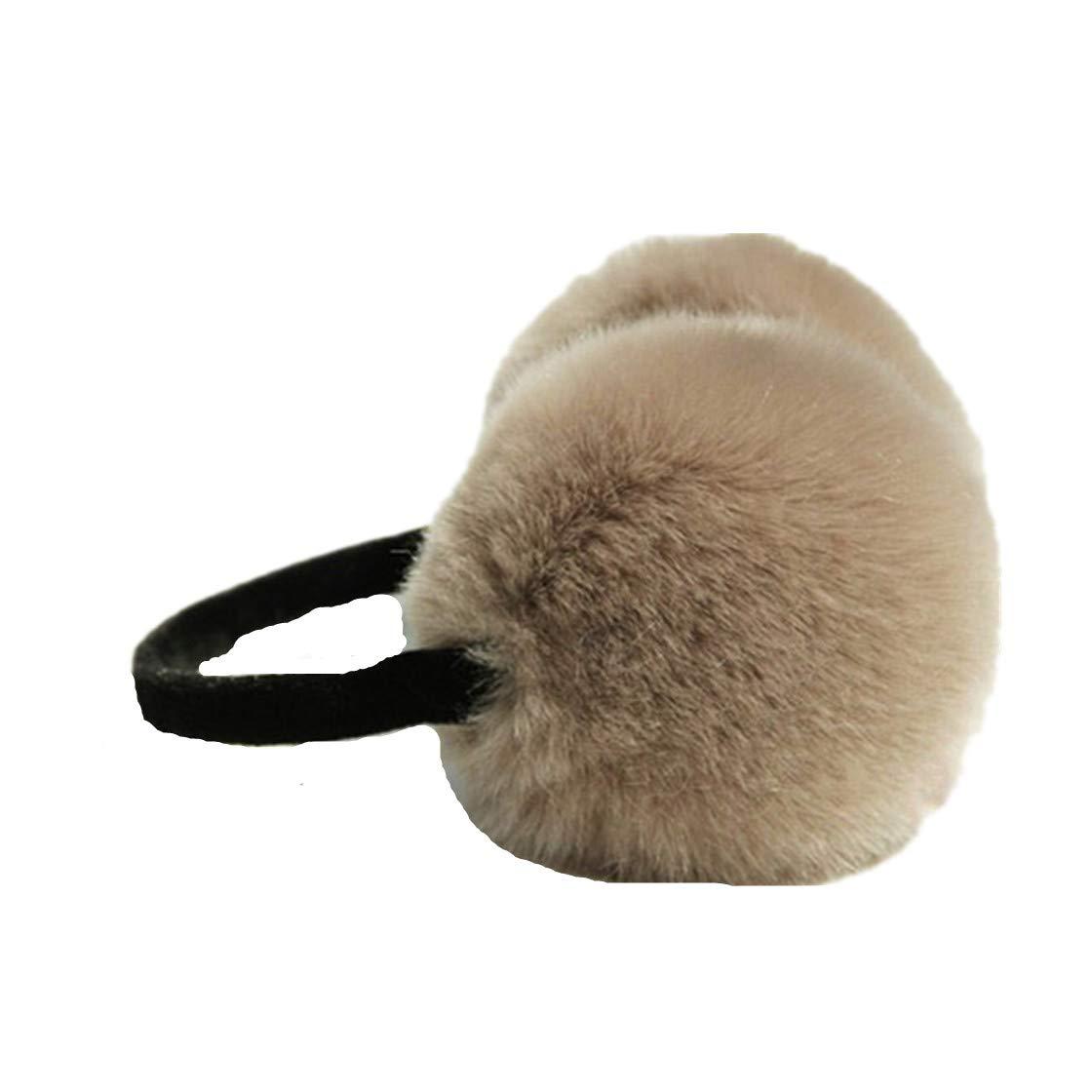 Women Faux Rabbit Fur Earmuffs Comfortable Warm Adjustable Ear Cover
