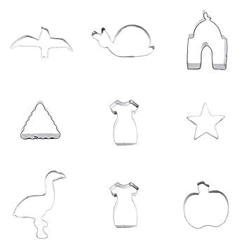 Cortador de galletas, 9 piezas, falda de manzana, flamencos, estrella de 5 puntas, triángulo, mezquita de caracol gaviota: Amazon.es: Hogar