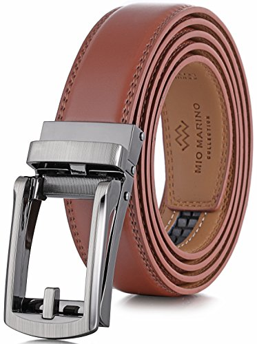 (Marino Men's Genuine Leather Ratchet Dress Belt with Open Linxx Buckle, Enclosed in an Elegant Gift Box - Light Tan - Style 37 - Custom: Up to 44