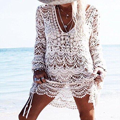Beach Trasparente Merletto Bianca Collare V Solare Koly Swimwear Camicia Donne Protezione Del Tq4gx0w