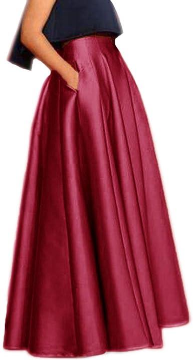 Lisong Women Floor Length Satin Green Party Prom Skirt