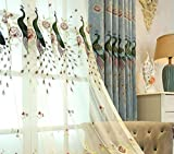 TIYANA Chinese Style Sheer Curtains for Bedroom Delicate Embroidery Voile Sheer Curtains Mild Luxury Screening Light Weighted Sheer Tulle Window Curtain Panel 1 Piece Proud Peacocks 52×96 inch For Sale