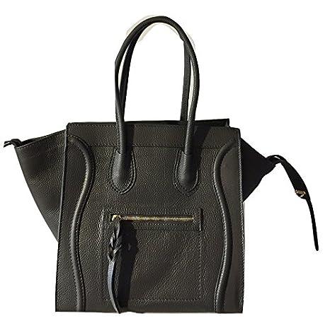 Leder Tasche Tote bag Celine Inspiriert, Handtasche 100% Italien Schwarz, Cognac, Taupe (Braun) (Dunkelgrau)