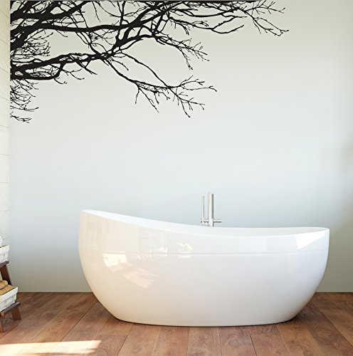 Large Tree Wall Decal Sticker - Semi-Gloss Black Tree Branches, 44in Tall X 100in Wide, Left To Right. Removable, No Paint Needed, Tree Branch Wall Stencil The Easy Way. by Stickerbrand (Image #6)
