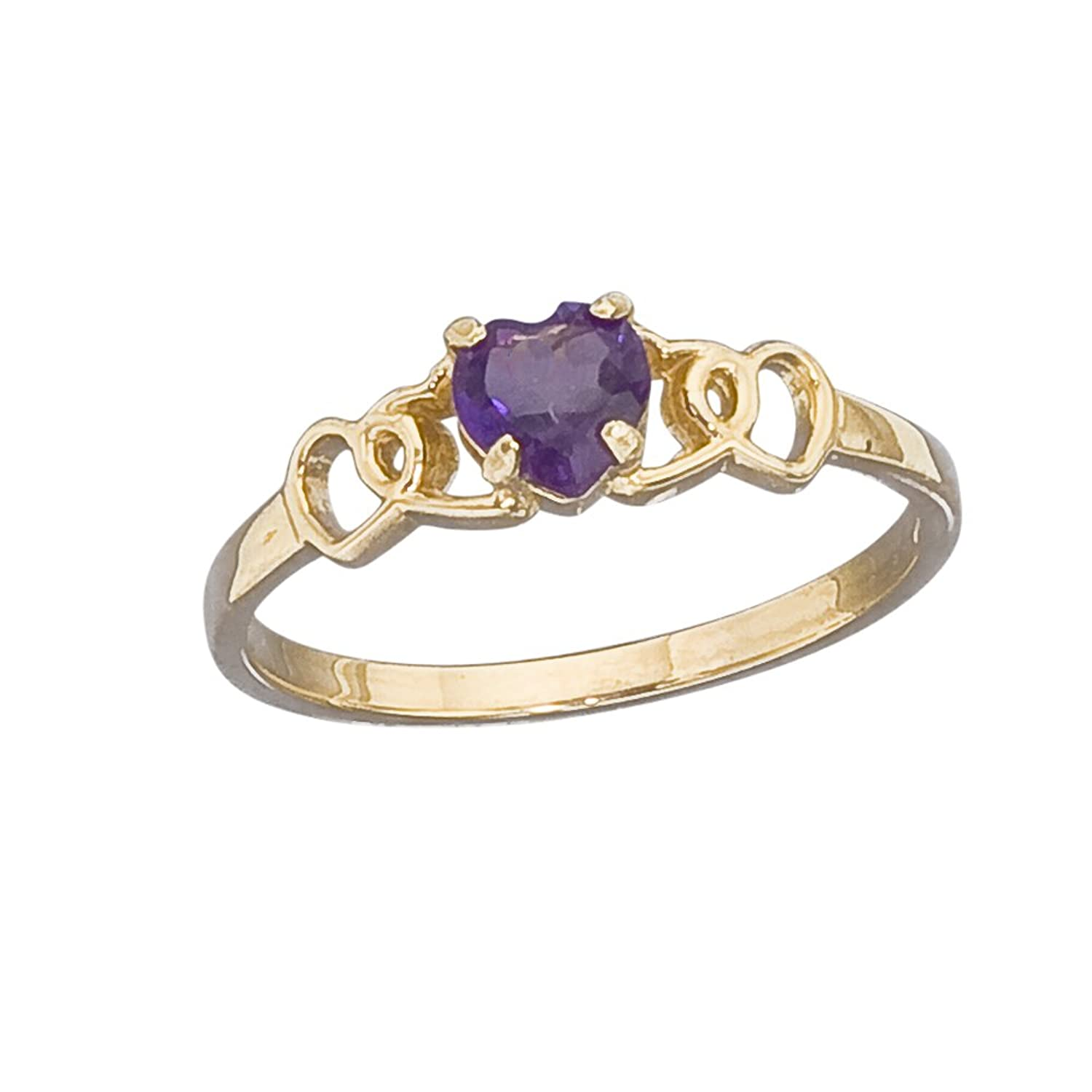 Amazoncom 14k Gold Genuine Amethyst Heart Girls Ring size 3 Jewelry