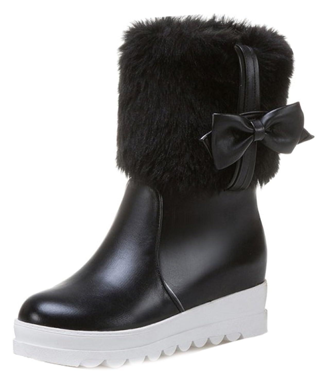 Women's Lovely Bow Faux Fur Lined Waterproof Ankle Winter Boots