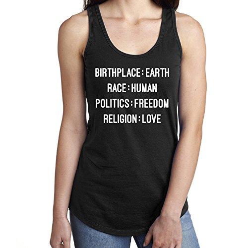Birthplace:Earth Race:Human Politics:Freedom Racerback Tank- black - (Earth Tank)