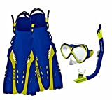 Body Glove Aquatic Cove Mask Snorkel and Fins Set, Large/X-Large, Blue/Citrus
