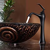 Kraus C-GV-650-19mm-15000ORB Luna Glass Vessel Sink and Ventus Faucet Oil Rubbed Bronze