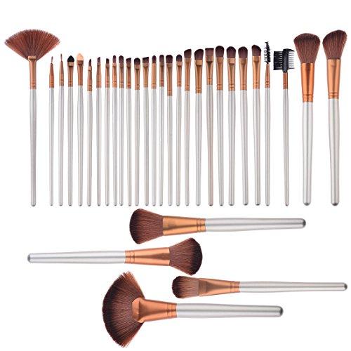Makeup Brush, PeleusTech 32Pcs Professional Cosmetic Makeup Brush with Golden Roll-up PU Leather Case