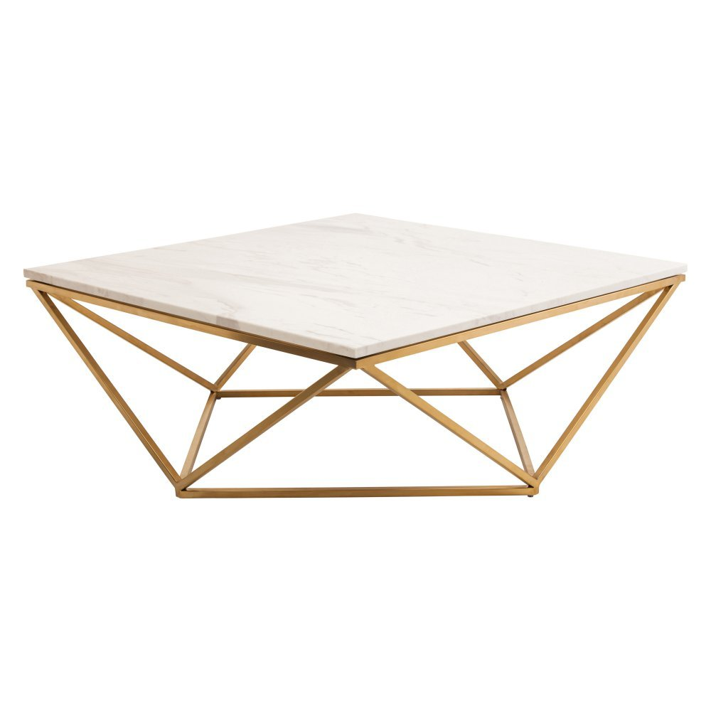 Amazon.com: Nuevo Jasmine Square Marble Top Coffee Table In Gold And White:  Kitchen U0026 Dining