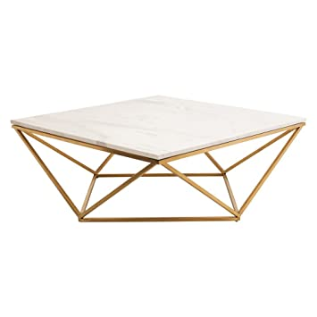 Nuevo Jasmine Square Marble Top Coffee Table In Gold And White