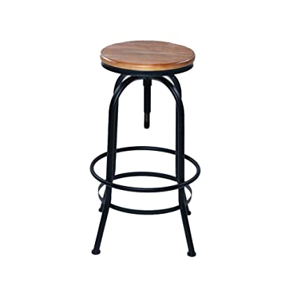 Phenomenal Amazon Com Stool Barstools Round Wood Top Bar With Footrest Machost Co Dining Chair Design Ideas Machostcouk
