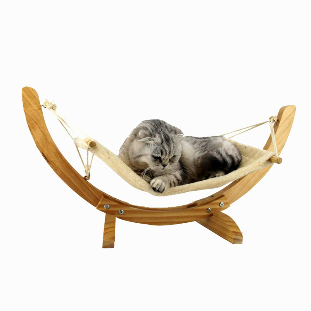 Youyababay Cat hammock Wooden hanging nest bed pet supplies toys,Hammock Wood Frame,71  35  35 cm