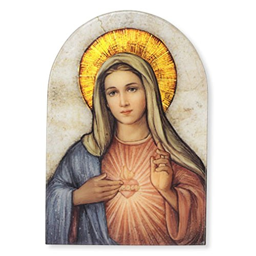 (Sacred Traditions The Immaculate Heart of Mary Icon 7 Inch Wood Arched Plaque)