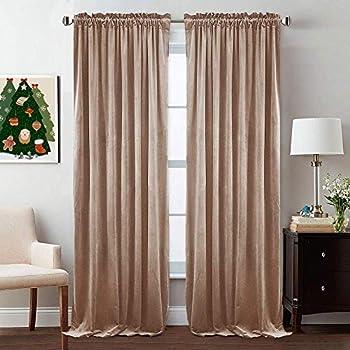 Nursery Sunlight Block Velvet Curtains - Elegant Interior Decoration Large Window Blackout Velvet Drapes for Living Room, 52 x 96 Inches Long, Blush Beige, 2 Pcs