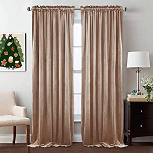 StangH Blush Velvet Curtains 84 inch Length – Skin-Smooth Feeling Velvet Drapes Room Darkening Privacy Enhancing for Daughters Room/Apartment, Blush Beige, Wide 52 x Long 84 Inches, 2 Panels