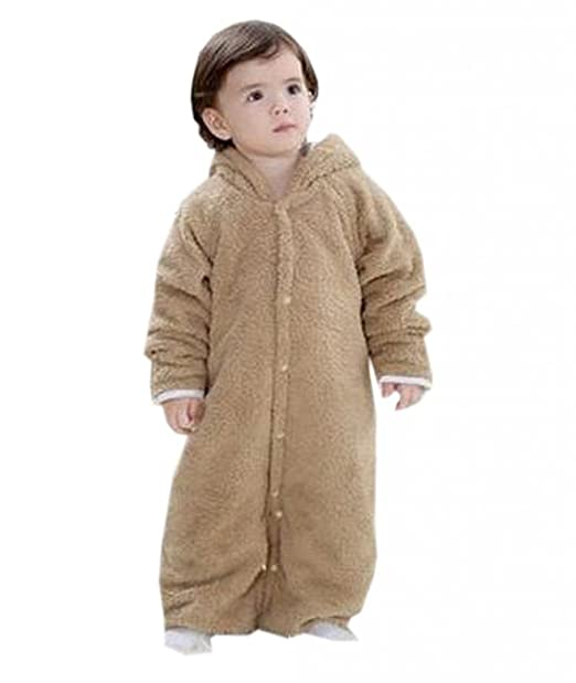 EOZY Pijama Traje Bebé/niño peluche con capucha Oso Invierno Epais marrón marrón Talla 95