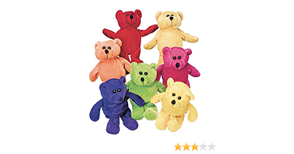 Super Soft Stuffed Animals For Babies, Amazon Com Dozen Plush Bean Bag Neon Teddy Bear Stuffed Animals Toys Games