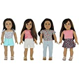 "PZAS Toys American Girl Doll Clothes, 18"" - 4 Mix'n'Match Outfits for 18"" Doll Clothes, 8 pc"