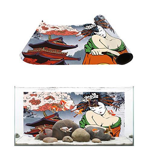 T&H Home Aquarium Décor Backgrounds - Japanese Sexy Geisha and Palace Fish Tank Background Aquarium Sticker Wallpaper Decoration Picture PVC Adhesive Poster, 24.4